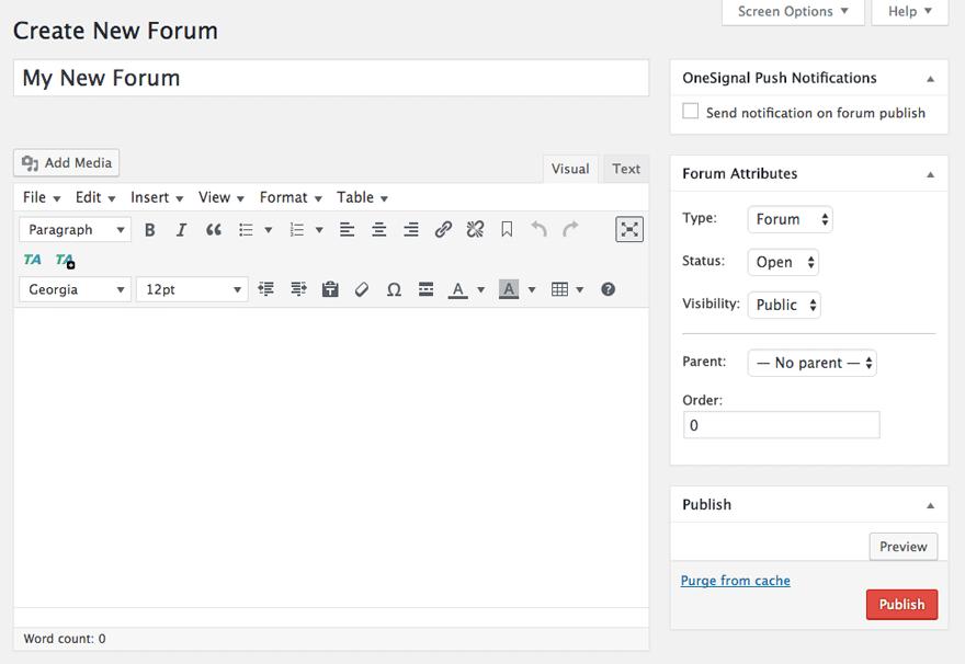 Create a new forum in bbPress