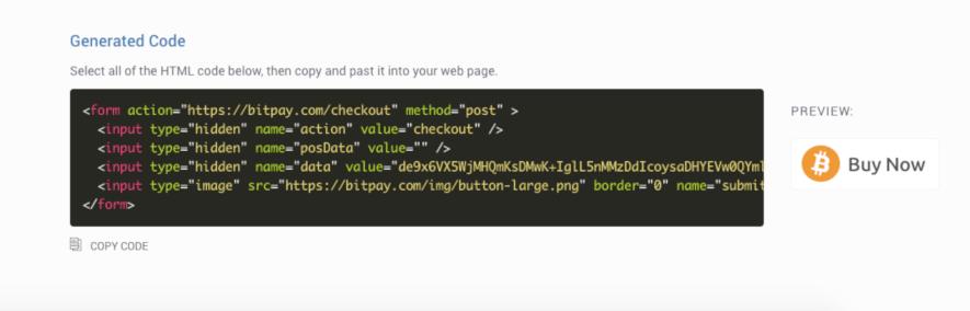 HTML button on bitpay